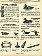 1963 Print Ad of Victor Decoys Owl, Duck, Canada Goose