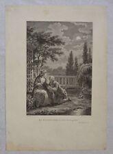 Belle gravure fin XVIII - Pierre-Philippe Choffard - Monsiau - Scène Romantique