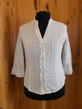 M&S cream grey olive green khaki silver stripe 3/4 sleeve blouse shirt top 16 44
