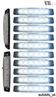 10 Pcs Blanc 12v 6 Leds Intérieur Décoration Lampe Feu Rayé Barre 95mm