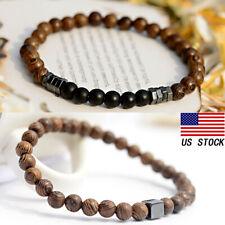2pcs 6mm Natural Wood Beads Hematite Bracelet Bangle Healing Womens Mens Jewelry