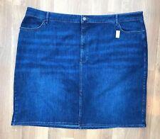 BNWOT Damen m&s Blau Denim Baumwolle Midi Rock UK 30 Übergröße Baumwolle navy