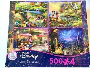 500 Piece Thomas Kinkade Disney Dreams 4 in 1 Puzzle Alice Mickey Beauty Beast