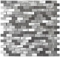 3D Raised Brick Pattern Grey Mix Backsplash Wall Fireplace Aluminum Mosaic Tile