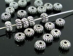 25 Antique Silver Pewter Spacer Saucer Rondelle Beads 5x3mm
