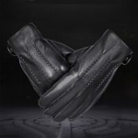 New Men's Touchscreen Leather Gloves Cashmere Lining (Palm; 21-24cm)