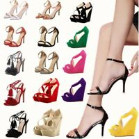 Fashion Women's Ankle Strap Marabou Sandals High Block Heel Stiletto Party Shoes
