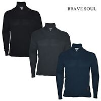 Mens Brave Soul Jumper Long Sleeve Shawl Neck Casual Top 100% Cotton