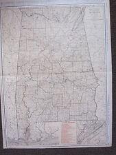 1922 LARGE MAP ~ ALABAMA ~ PRINCIPAL CITIES RAILROADS BIRMINGHAM RAND MCNALLY