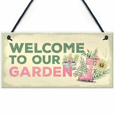 Welcome To Our Garden Novelty Shabby Chic Garden Shed Summer House Sign Gift