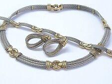 18Kt & SS Philippe Charriol Wire Necklace/Bracelet/Earrings Jewelry Set
