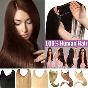 170g Double Weft Halo Hair Wire Flip In Real Human Hair Extension One Piece Wrap