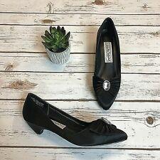 Diane Von Furstenberg Womens Kitten Heels Black Bow Rhinestone Satin EUC Size 7