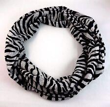 Zebra striped infinity scarf black gray stripes knit