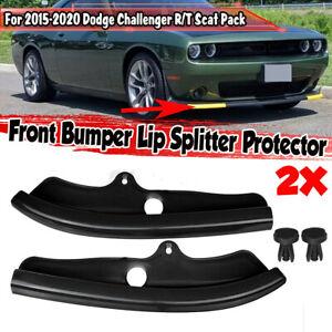 Front Bumper Lip Splitter Protector For Dodge Challenger Scat Pack 15-20 Black