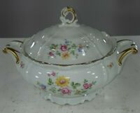 Vintage Edelstein Bavaria Queen's Rose Covered Serving Bowl Handled and Footed