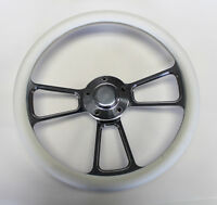 """1964 1965 Chevelle El Camino White and Billet Steering Wheel 14"""""""