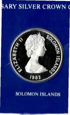 elf Solomons 5 Dollars 1983   Silver Proof  30th Anniv of Coronation Orb Crown