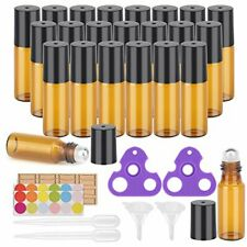Essential Oil Roller Amber Bottles Kit With Opener Dropper Funnel Amp Labels