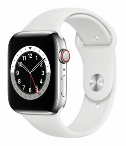 Apple Watch Series 6 44mm Stainless Steel Case with White Sport Band -...