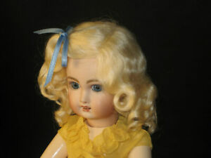 Lettie light Blonde mohair wig for antique French German bisque doll size 13 -14