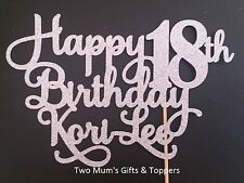 Personalised 18th Birthday Glitter Cake Topper - 300 GSM