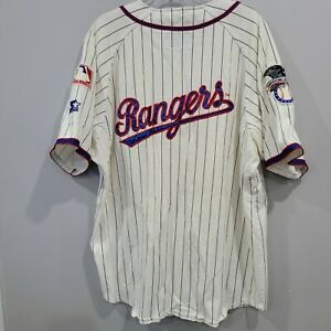 Rare VTG 80s Starter Texas Rangers 2 Sided Script  Baseball Jersey Mens L