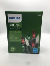Philips 100 Count Mini Lights Red, Green & White Green Wire Indoor/Outdoor NEW