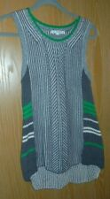 CABI Cotton Blend Pull On Sleeveless Sweater Vest Sz M  #885 Gray Green