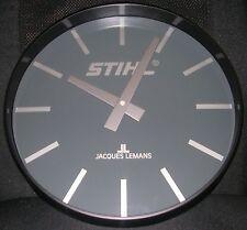 STIHL Wanduhr Quarzuhr Von Jacques LeMans 33cm Durchmesser schwarz Metall Uhr