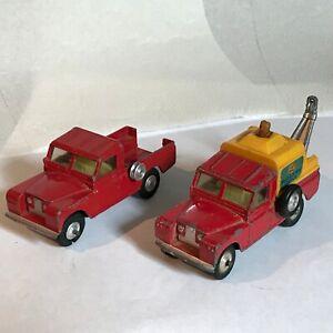 "Corgi Toys Vintage Two (2) Land Rover 109"" W.B. Fair Condition Missing pieces"