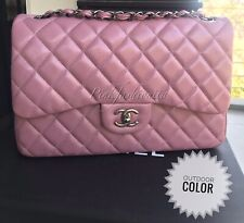 Chanel Caviar Quilted Jumbo Double Flap Bag Pink Ruthenium Black Chain Hardware