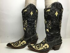 VTG WOMENS CORRAL SNIP TOE INLAY COWBOY DISTRESSED BLACK BOOTS SIZE 6.5 M