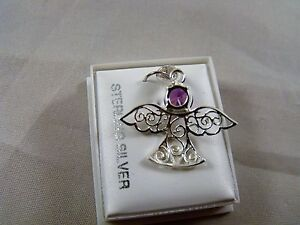 23 mm SOLID STERLING FAIRY PENDANT WITH AMETHYST AUSTRIAN CRYSTAL STONE