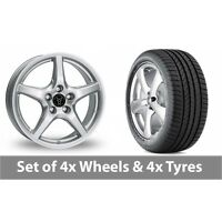 """4 x 15"""" Wolfrace U1 Silver Alloy Wheel Rims and Tyres -  195/55/15"""