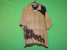 Tommy Bahama Mens Size L Large 100% Silk Floral Short Slv Button Shirt