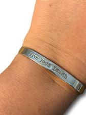 Live Laugh Love Statement Cuff bracelet 925 Sterling Silver Vintage