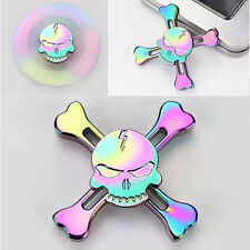Rainbow Skull Metal Hand Spinner Tri-Fidget Finger Gyro Toy Gift EDC ADHD Autism