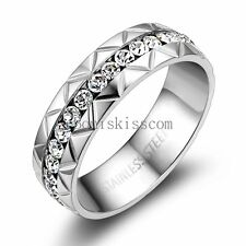 6mm Silver Stainless Steel Round Eternity White Cubic Zirconia Engagement Ring