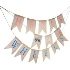 Heels or Wheels Car Burlap Banner Bunting Christening Baby Shower Accessory