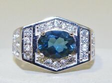 GENUINE 1.51cts! London Blue Topaz Unisex Ring, Solid Sterling Silver 925.