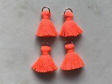 4 x Cotton Tassels 20mm 2cm Long - ORANGE - great for earrings & accessories