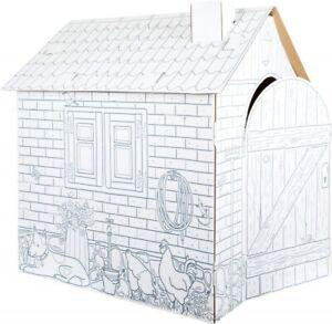 Spielhaus Häuschen aus Bastelkarton, Papphaus zum Anmalen