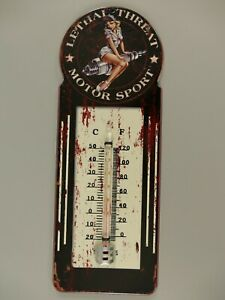 9977720-x Vintage Wand-Thermometer Blechschild Motorsport Pin Up Girl 29x10cm