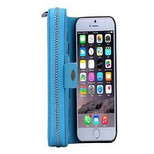Detachable Magnetic Zipper PU Leather Wallet Case with Strap for iPhone Samsung