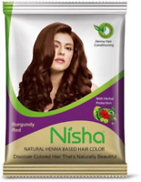 Nisha Natural Henna Based Hair Color Burgundy Red 15gm,Black 10gm, brown15gm