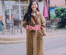 Vintage Women's Double Breasted Check Pattern Oversize Long Coat Jacket Fashion