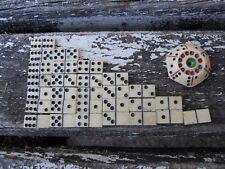 Rare jeu miniature de dominos XIXème + toupie de centre complet