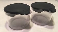 New Tupperware Counterscaping Creamer & Sugar Set Clear Acrylic with Black Lids