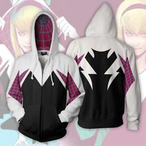Spider-Man Into the Verse Gwen Stacy Spidergirl Jacket Girl Sweatshirt Hoodie